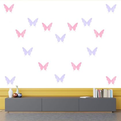 Set of 20 Purple and Pink Butterfly Wall Stickers, Watercolour Effect Pattern for kids room wall stickers