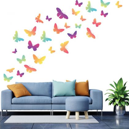 Set of 20 Multicolour Butterfly Wall Stickers, Pattern for kids room wall stickers