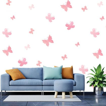 Set of 20 Pink Butterfly Wall Stickers, Watercolour effect Pattern for kids room wall stickers