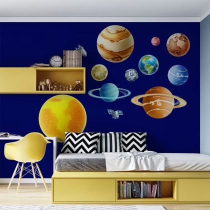 Sun & Planets Wall Stickers, Solar System For Kids Room