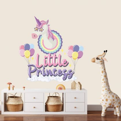 Little Princess Unicorn Wall Stickers Fantasy Girls Bedroom Wall Art