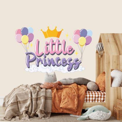 Little Princess Crown Unicorn Wall Stickers Fantasy Girls Bedroom Wall Art