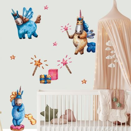 Watercolour Unicorn Wall Stickers Fantasy Girls Bedroom Wall Art