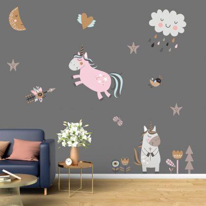Unicorn Set Wall Stickers Fantasy Girls Bedroom Wall Art