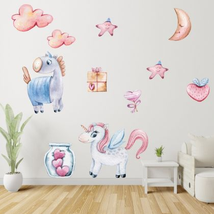 Unicorns with Love Wall Stickers Fantasy Girls Bedroom Wall Art