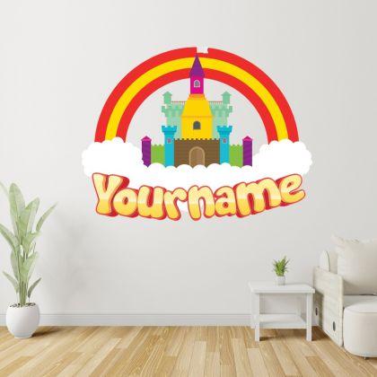 Custom Name Rainbow Wall Stickers Fantasy Girls Bedroom Wall Art