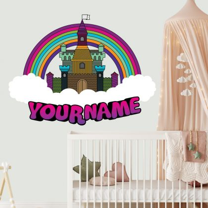 Custom Name Castle Rainbow Wall Stickers Fantasy Girls Bedroom Wall Art