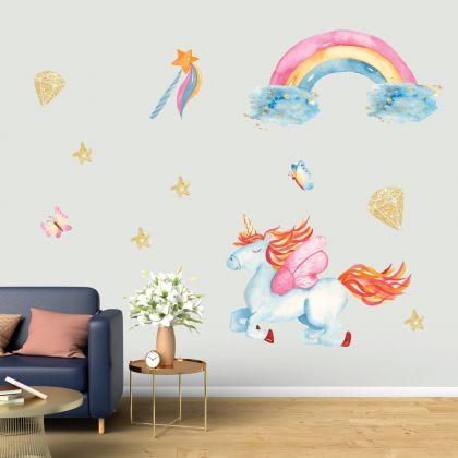 Flying Blue Unicorn Wall Stickers Fantasy Girls Bedroom Wall Art