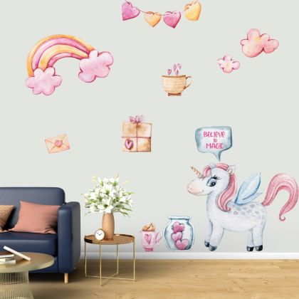 Believe in Magic Watercolour Unicorn Wall Stickers Fantasy Girls Bedroom Wall Art