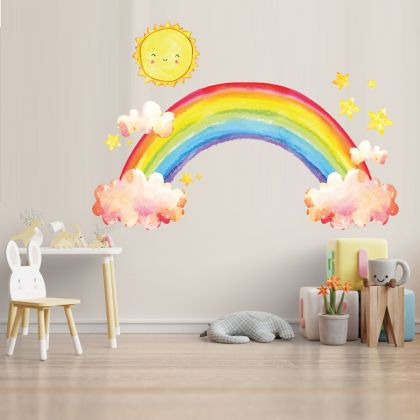Rainbow wall stickers for Nursery, kids room Clouds and Sun vinyl wall decals