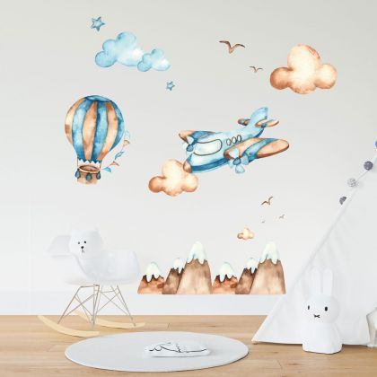 Hot Air Balloons Watercolour Wall Decals, Hills Birds Clouds for kids room wall stickers
