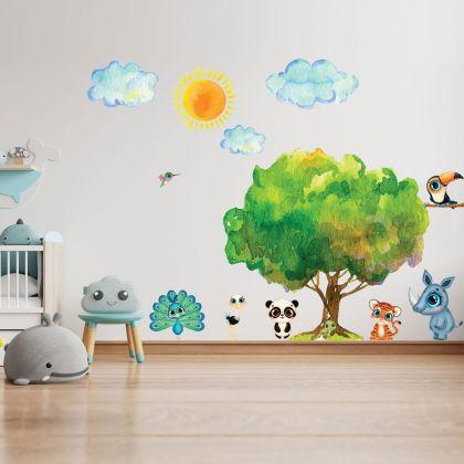 Jungle Animals Nursery Wall Stickers,Safari Animals Sun Cloud Wall Vinyl Wall Stickers for Kids Room