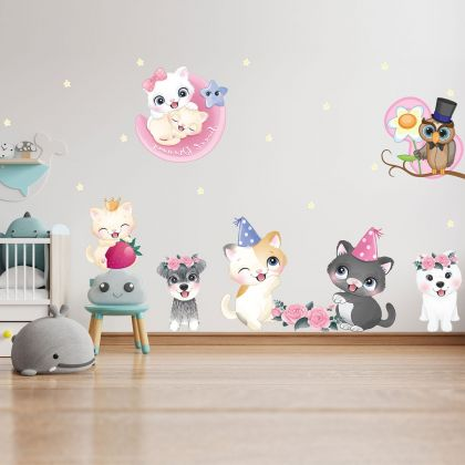 Animals Wall Sticker,Kitty Vinyl Wall Stickers, Owl Puppy Decals for Kids Room