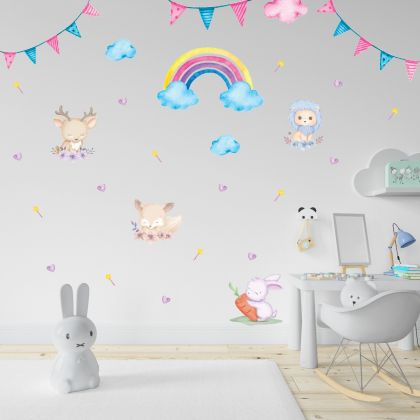 Animals Wall Sticker,Bunny Vinyl Wall Stickers, Lion Decals for Kids Room
