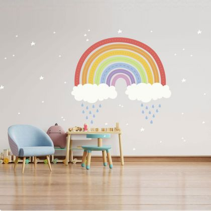 Rainbow wall stickers for Nursery, kids room Stars vinyl wall decals