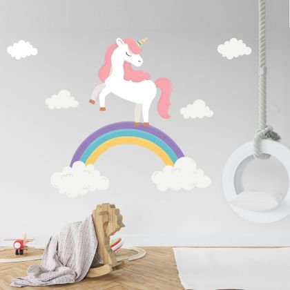Rainbow wall stickers for Nursery, kids room Unicorn vinyl wall decals