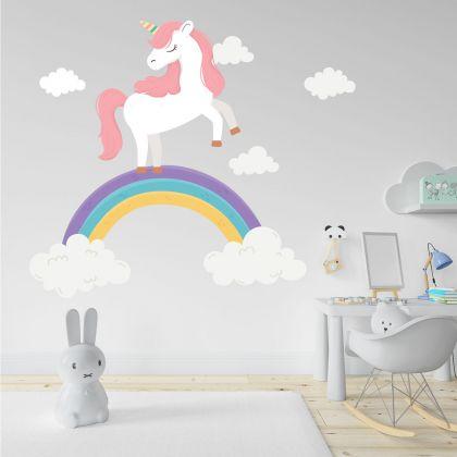 Rainbow wall stickers for Nursery, kids room Unicorn vinyl wall decals