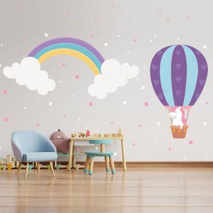 Rainbow wall stickers for Nursery, kids room Unicorn and Stars vinyl wall decals