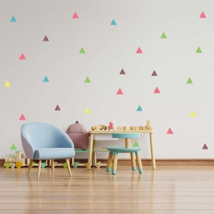 Set of 42 Rainbow Colour Triangle Wall Decals, Pattern for kids room wall stickers