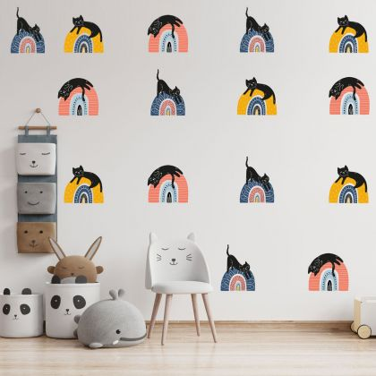 Set of 15 Multicolour Cat Rainbow Wall Decals, Pattern for kids room wall stickers