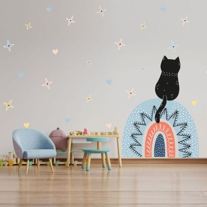 Multicolour Cat Rainbow Wall Decals, Pattern Hearts and Stars for kids room wall decor stickers
