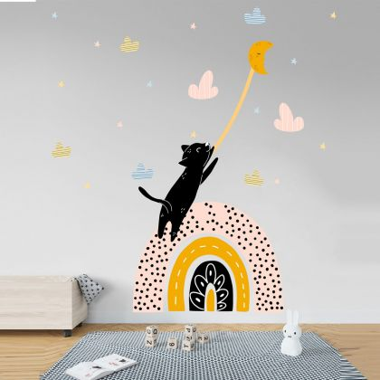Multicolour Cat Rainbow Wall Decals, Pattern Hearts and Stars for kids room wall stickers