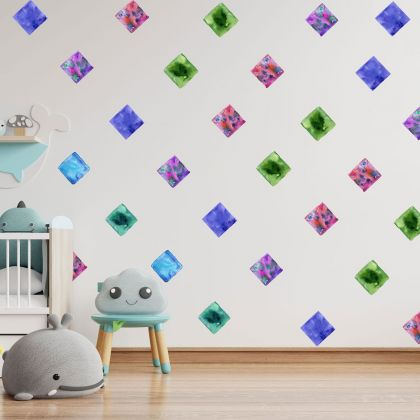 Set of 20 Multicolour Square Wall Stickers, Watercolour Effect Pattern for kids room wall stickers