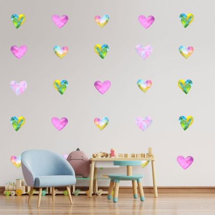 Set of 20 Multicolour Heart Wall Decals, Watercolour Effect Pattern for kids room wall stickers