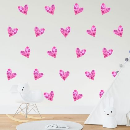 Set of 20 Multicolour Heart Wall Stickers, Watercolour Effect Pattern for kids room wall stickers