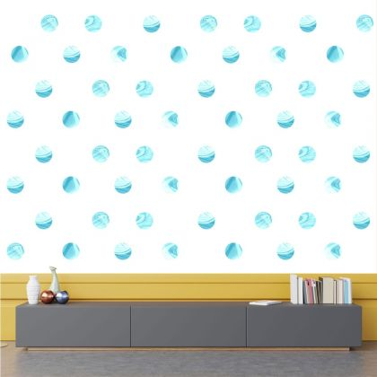 Set of 20 Marble Effect Blue Polka Dots Wall Stickers, Watercolour Effect Pattern for kids room wall stickers