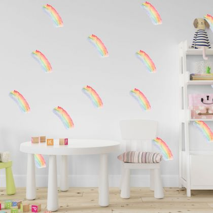 Set of 20 Rainbow Colour Brush Stroke, Rainbow Colour Pattern for kids room wall stickers
