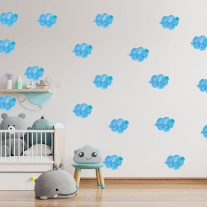 Set of 20 Blue Clouds Stickers, Cloud Pattern for kids room wall stickers