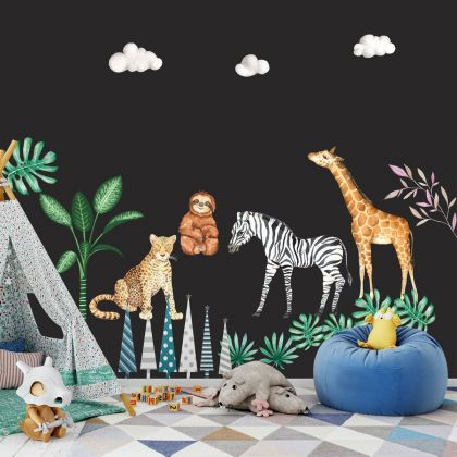Animals Nursery Wall Stickers,Jungle Safari Animal Wall Vinyl Wall Stickers for Kids Room