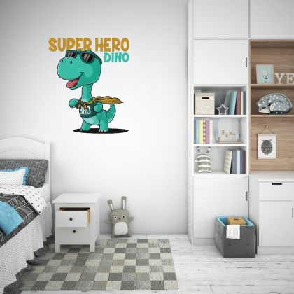 Superhero Dinosaur Wall Decal for Kids Room Jurassic Park