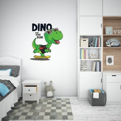Dino Skating Wall Decal for Kids Room Jurassic Park, Dinosaurs Wall Stickers
