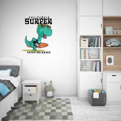 Surfer Dinosaur Wall Decal for Kids Room Jurassic Park