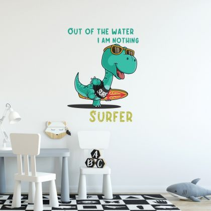 Out of the Water Surfer Dinosaur Wall Decal for Kids Room Jurassic Park