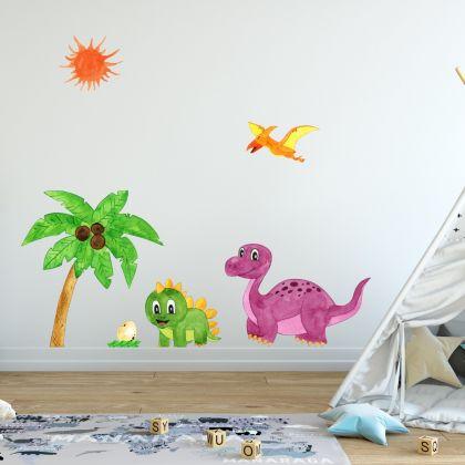 Watercolour Dinosaur Wall Decal for Kids Room Jurassic Park- Dino peel&stick wall sticker