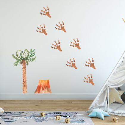 Watercolour Dinosaur Footprints Wall Decal for Kids Room Jurassic Park- Dino peel&stick wall sticker