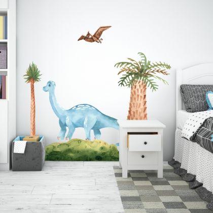 Blue Brontosaurus Dinosaur Wall Decal for Kids Room Jurassic Park- Dino peel&stick wall sticker , Dinosaurs Jurassic Park