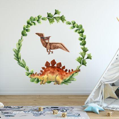 Dinosaur Wreath Wall Decal for Kids Room Jurassic Park- Dino peel&stick wall sticker, Dinosaurs Jurassic Park