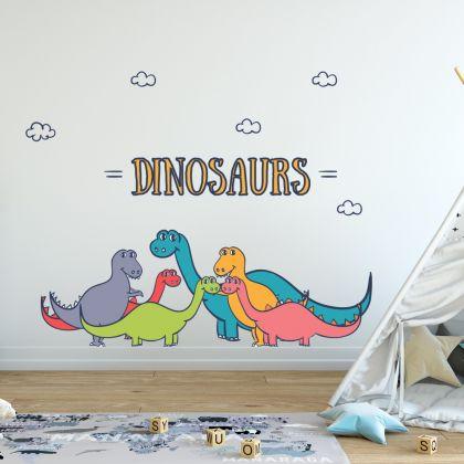 Brontosaurus Group Wall Decal for Kids Room Jurassic Park- Dino peel&stick wall sticker, Dinosaurs Jurassic Park