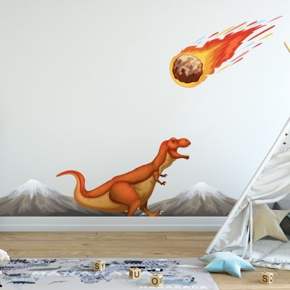 Trex Dinosaur Wall Decal with mountains for Kids Room Jurassic Park- Dino peel&stick wall sticker, Dinosaurs Jurassic Park