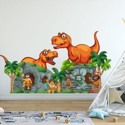 Kids Room Dinosaur Cave Wall Decal- Dino peel&stick wall sticker, Dinosaurs Jurassic Park