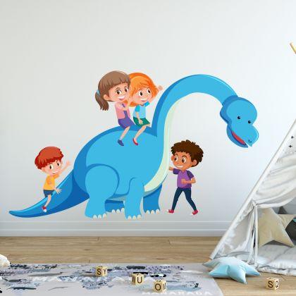 Brontosaurus Dinosaur with Children Wall Decal for Kids Room Jurassic Park- Dino peel&stick wall sticker, Dinosaurs Jurassic Park