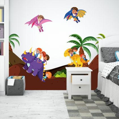 Dinosaur with Kids Wall Decal Mountain Wall Stickers for Kids Room Jurassic Park