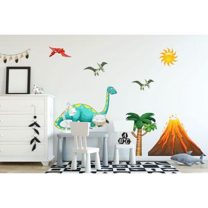Dinosaur Volcano Wall Decal for Kids Room Jurassic Park