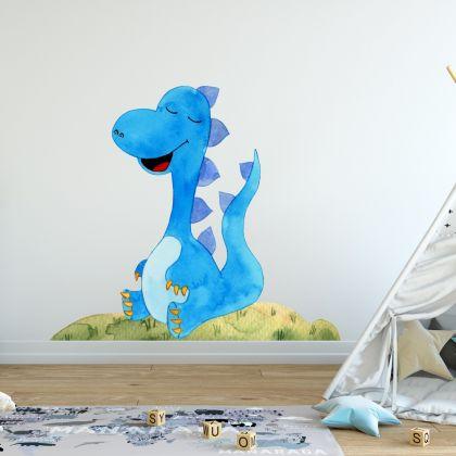 Watercolour Blue Baby Dinosaur Wall Decal for Kids Room Jurassic Park- Dino peel&stick wall sticker, Dinosaurs Jurassic Park
