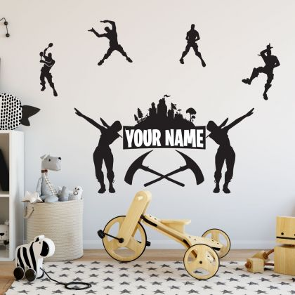 Fortnite Personalized Name Wall Art Vinyl Sticker for Gaming Room