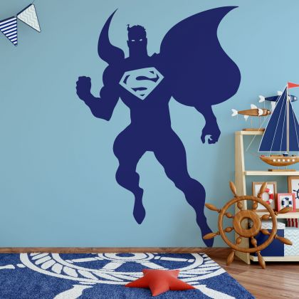 Superman Silhouette Wall Decal for Gaming Room